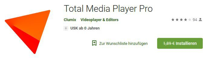 Total Media Player Pro (Android) gratis statt 1,99€