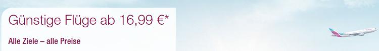 Eurowings: Kurzstreckenflüge ab 16,99€ und Langstrecken Flüge ab 139,99€