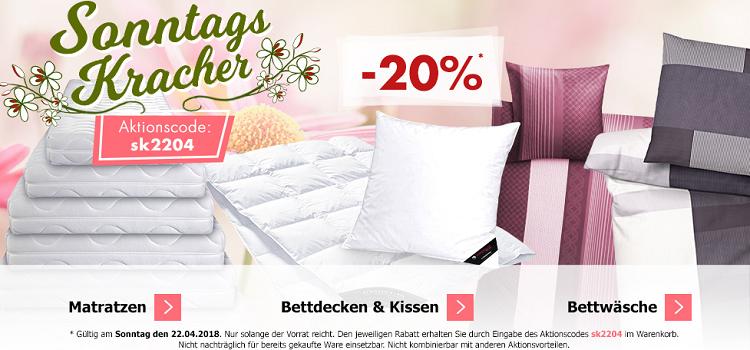 Karstadt Sonntags Kracher mit 20% Rabatt auf Bettwäsche, Bettdecken & Kissen und Matratzen