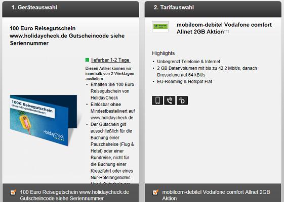 Vodafone comfort Allnet mit 2GB für 7,49€* mtl. + 100€ Holidaycheck Gutschein