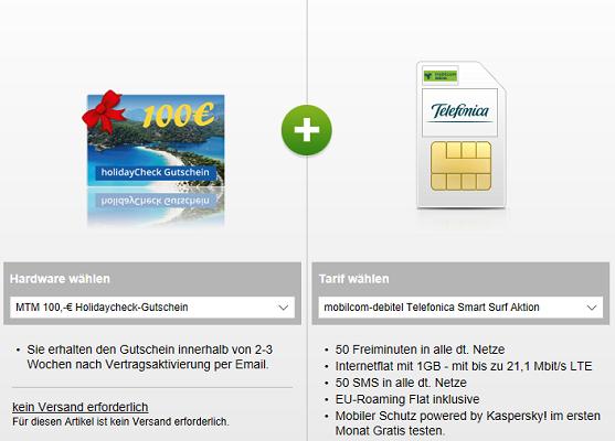 md Telefonica Smart Surf Tarif mit 50 Minuten/SMS + 1 GB Datenvolumen für 3,99€ + 100€ Holidaycheck Gutschein