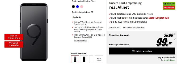 Samsung Galaxy S9 Plus für 99€ + Vodafone Flat mit 8GB für 36,99€ mtl.