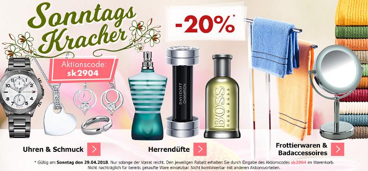 Karstadt Sonntags Kracher mit 20% Rabatt auf Uhren, Schmuck, Herrendüfte, Frottierwaren und Badaccessoires