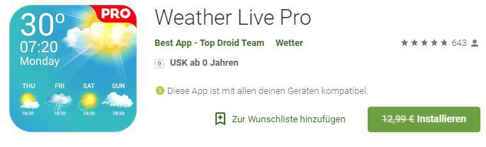 Weather Live Pro (Android) gratis statt 12,99€