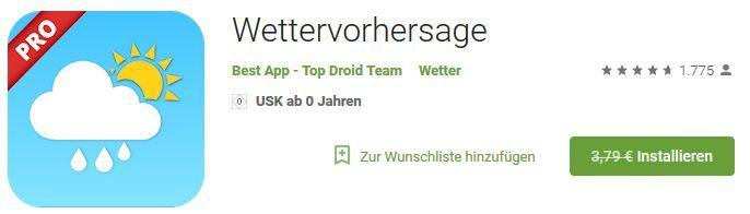 Wettervorhersage Pro (Android) gratis statt 3,79€