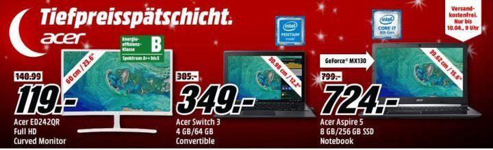 Media Markt Acer Tiefpreisspätschicht: z.B. ACER Predator 27 Zoll Full HD Gaming Monitor für 399€ (statt 519€)
