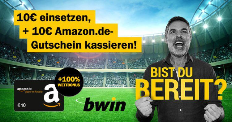 Bonus Deal: 10€ Wetteinsatz bei bwin und 10€ Amazon Gutschein* erhalten
