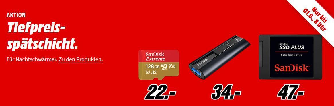 Media Markt SanDisk Tiefpreisspätschicht   günstiger Speicher z.B. SANDISK Plus 480 GB SSD für 47€ (statt 63€)