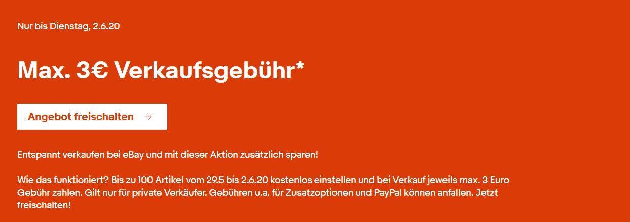 Tipp: eBay mit 3€ Verkaufs Gebühr auf bis zu 100 Artikel bis Dienstag