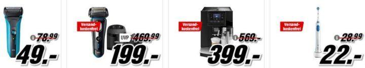 Media Markt Mega Marken Sparen: günstige Artikel von Braun, DeLonghi, Oral B und Philips