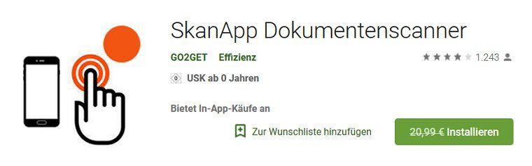 Android: SkanApp Dokumentenscanner gratis (statt 21€)