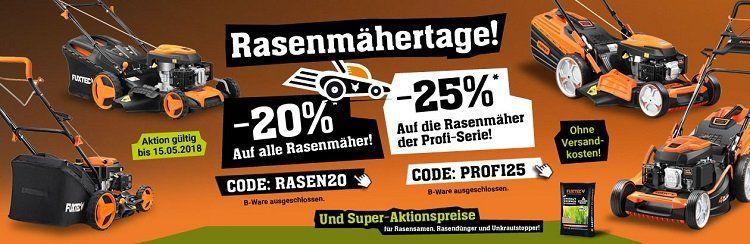 20% Rabatt auf alle Rasenmäher Fuxtec bzw. 25% für Profi Rasenmäher bis Mitternacht