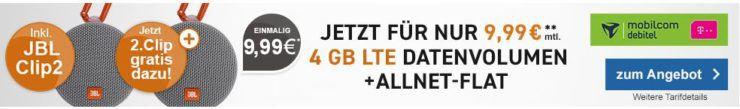 Telekom 10GB LTE Datenflat für 15,99€ mtl. oder 4GB für 9,99€ mtl. + 2 x JBL Clip2 Lautsprecher für nur 9,99€ (statt 60€)