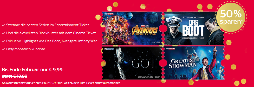 2 Monate Sky Ticket Entertainment & Cinema für einmalig 9,99€   nur Neukunden