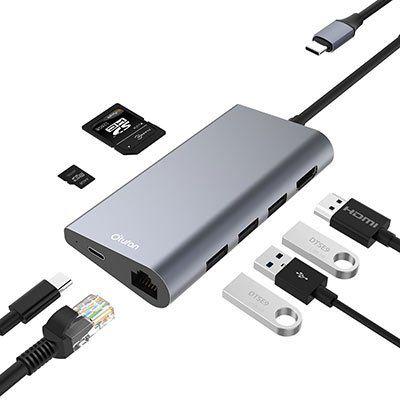 Otufan USB C Hub mit USB C Ladeanschluss & vielen Slots für HDMI, LAN & SD Karten für 24,99€ (statt 50€)