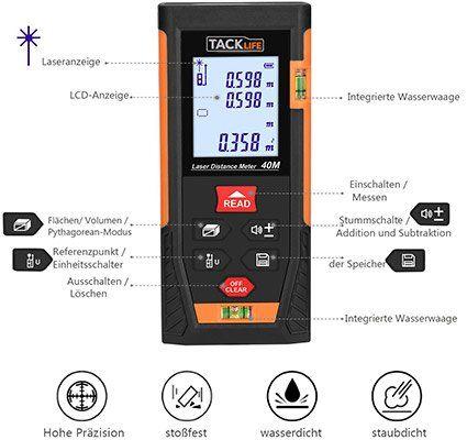Tacklife HD 40   Laser Entfernungsmesser für 21,99€ (statt 26€)
