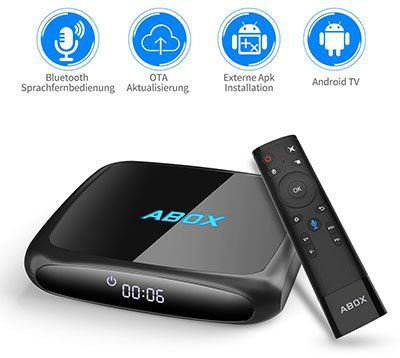 ABOX A4   TV Box mit Android 7.1.2, 2GB RAM & 16GB ROM für 49,99€ (statt 70€)