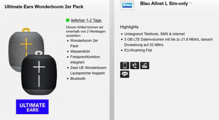 2 x Ultimate Ears Wonderboom (Wert 120€) + Blau Allnet & SMS Flat & 3GB LTE für 9,99€ mtl.