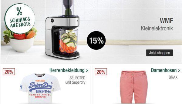 Galeria Kaufhof Sonntagsangebote   z.B. 20% auf Naketano Herrenbekleidung, WMF, Uhren und Schmuck uvam.