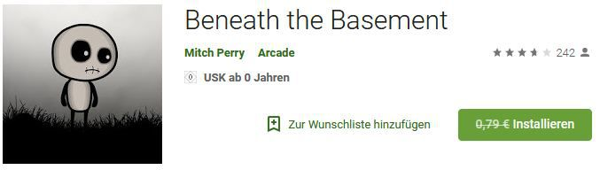 Beneath the Basement (Android) gratis statt 0,79€