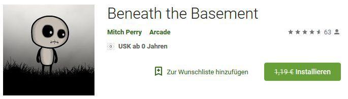 Beneath the Basement (Android) gratis statt 1,19€
