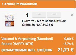 Happy Socks: Socken Geschenkbox I love you Mom für 21,21€ (statt 30€)