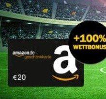 10€ bwin Wetteinsatz + 20€ Amazon Gutschein* geschenkt + 100% Wett Bonus (bei 10€)