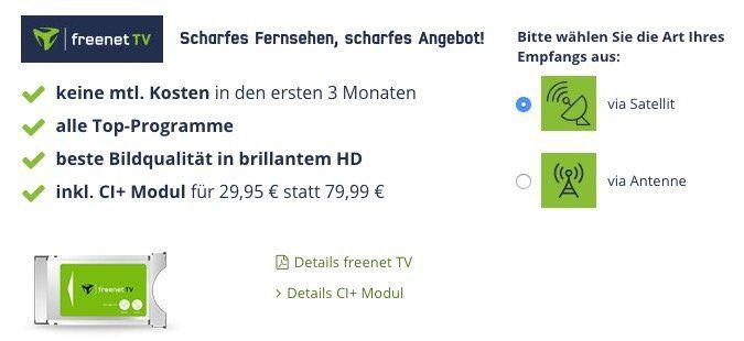 freenet TV (DVB T2) für 17,99€ mtl. + CI+ Modul für 29,95€ + gratis 48 Full HD Fernseher (Wert 300€)