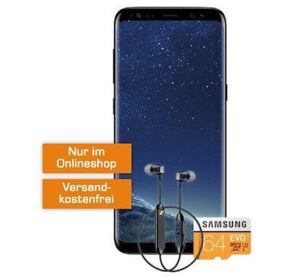 Samsung Galaxy S8 + Sennheiser CX6 In Ear + 64GB Speicherkarte für nur 4,99€ + Vodafone oder Telekom Tarif mit 1GB für 19,99€ mtl.