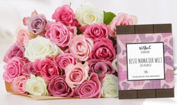 Muttertag: Rosenstrauß mit 25 Rosen + 70g Schokolade für 24,99€