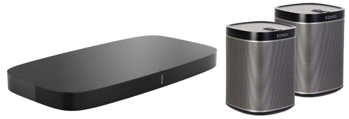 Sonos WM Bundle: Playbase + 2er Pack Play:1 Multiroom Lautsprecher für 949€ (statt 1.059€)