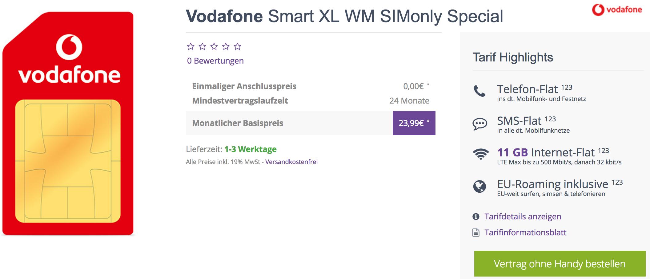 Vodafone Smart XL   11GB LTE + Allnet + EU Roaming für 19,99€ im Monat