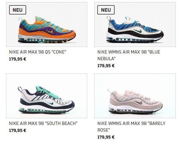 15% Rabatt auf Nike Air Max 98 Modelle beim Afew Store   z.B. Nike Air Max 98 South Beach für 152,96€ (statt 180€)