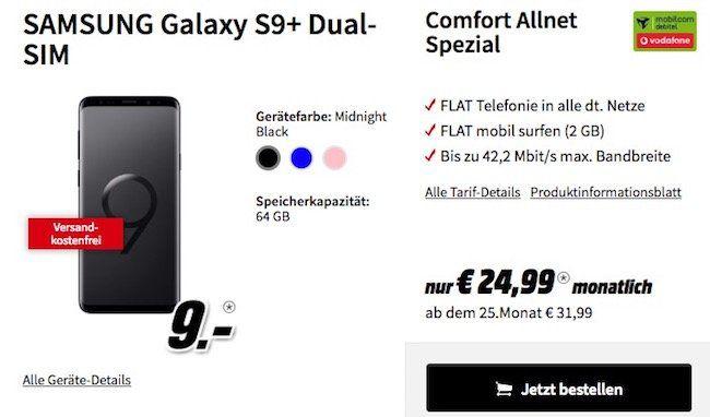 Knaller! Samsung Galaxy S9 (Dual Sim!) für 9€ + Vodafone Comfort Flat mit 1GB für 19,99€ mtl.   oder S9+ mit Vodafone Comfort Flat 2GB für 24,99€ mtl.