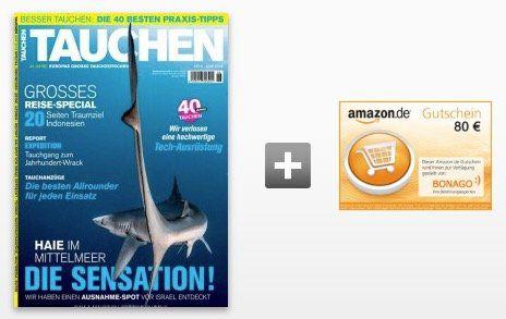 Jahresabo Tauchen für 86,40€ + 80€ Amazon Gutschein