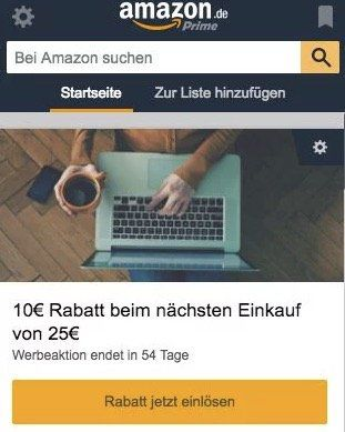 Amazon: 10€ Rabatt mit 25€ MBW über den Amazon Assistant