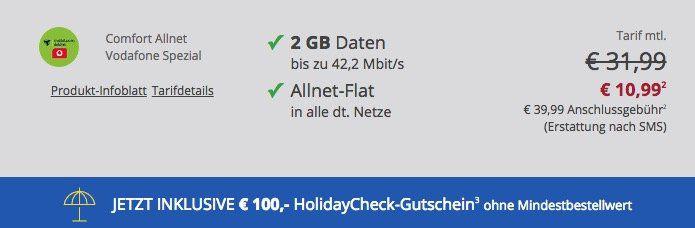 Vodafone Flat mit 2GB für 10,99€mtl. + Smartphone ab 1€ + 100€ Reise Gutschein ohne MBW