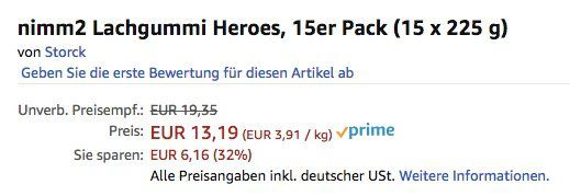 15er Pack nimm2 Lachgummi Heroes ab 10,54€ (statt 18€)