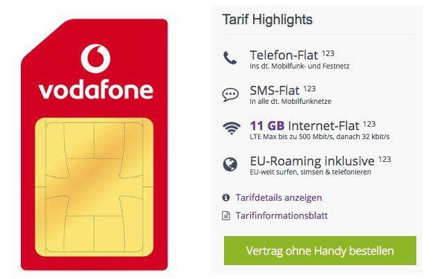 Vodafone Smart XL mit 11GB LTE + Allnet + EU Roaming für 21,99€ im Monat