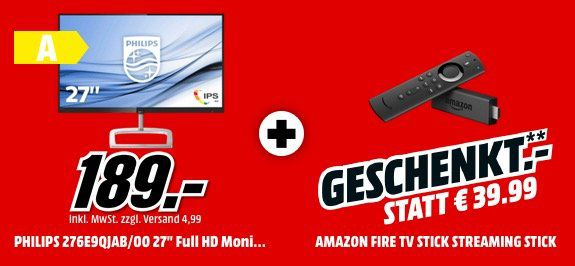 Philips 276E9QJAB 27 Monitor + Fire TV Stick für 159€ (statt 205€)