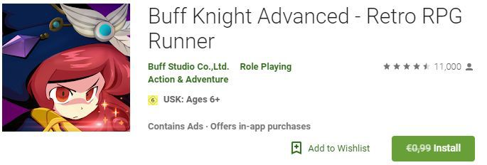 Buff Knight Advanced   Retro RPG Runner (Android) gratis statt 0,99€