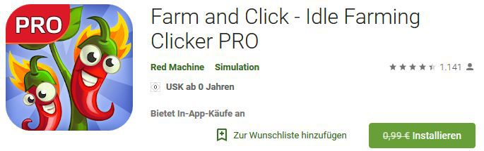 Farm and Click (Android) gratis statt 0,99€