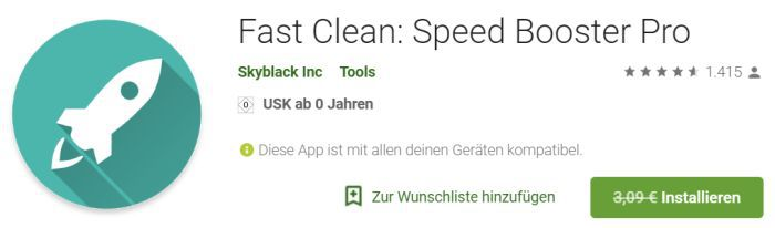 Fast Clean: Speed Booster Pro (Android) gratis statt 3,09€