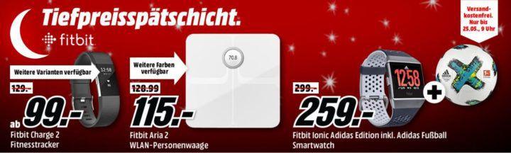 Media Markt Fitbit Tiefpreisspätschicht: günstige Fitness & Actifity Tracker: FITBIT Ionic Smartwatch + Fußball für 259€ (statt 318€)