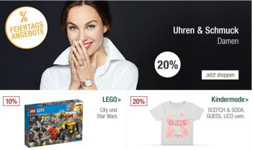 Galeria Kaufhof Feiertagsangebote: 20 % Rabatt auf Uhren  und Schmuckmarken, Outdoor  Sportbekleidung uvam.