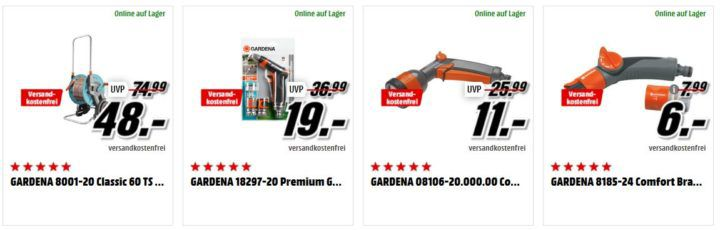 Media Markt Gardena Tiefpreisspätschicht   z.B. GARDENA CS Obstpflücker für 9€ (statt 15€)