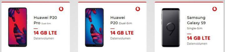 Samsung S9, Huawei P 20 Pro u.a. Top Phones + Vodafone AllNet & SMS Flat + 14GB LTE für 39,37€ mtl.   nur Vodafone u. KD Kunden