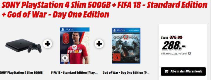 PS 4 Slim 500GB + FIFA 18 + God Of War für 288€ (statt 339€) und günstiges Zubehör & Games