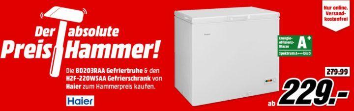 MM Preishammer: HAIER BD203RAA Gefriertruhe mit 203 l u. A+ für 229€ (statt 320€)