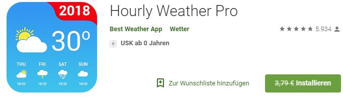 Hourly Weather Pro (Android) gratis statt 3,79€
